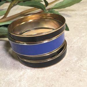 Jewelry - Bundle 4 bangle bracelets black blue